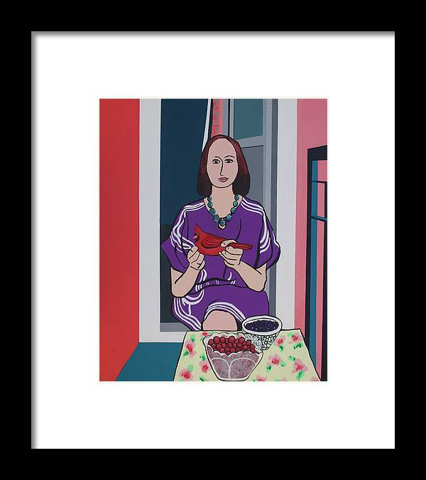 Bird Framed Print featuring the painting Woman, Bird, and Berries - A Tribute to Henri Matisse by Rollin Kocsis