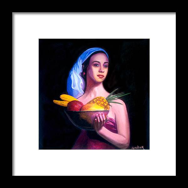 Women Framed Print featuring the painting Women With Fruits by Jose Manuel Abraham