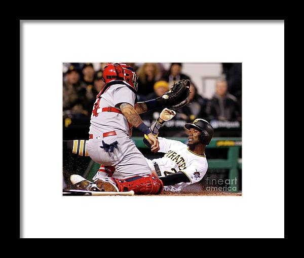 People Framed Print featuring the photograph Yadier Molina and Andrew Mccutchen by Justin K. Aller