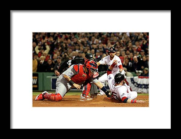 Playoffs Framed Print featuring the photograph Yadier Molina and Jonny Gomes by Rob Carr