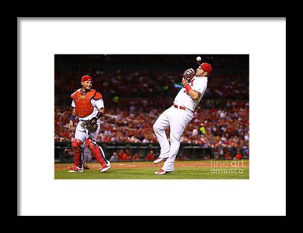 St. Louis Cardinals Framed Print featuring the photograph Yadier Molina and Matt Adams by Dilip Vishwanat