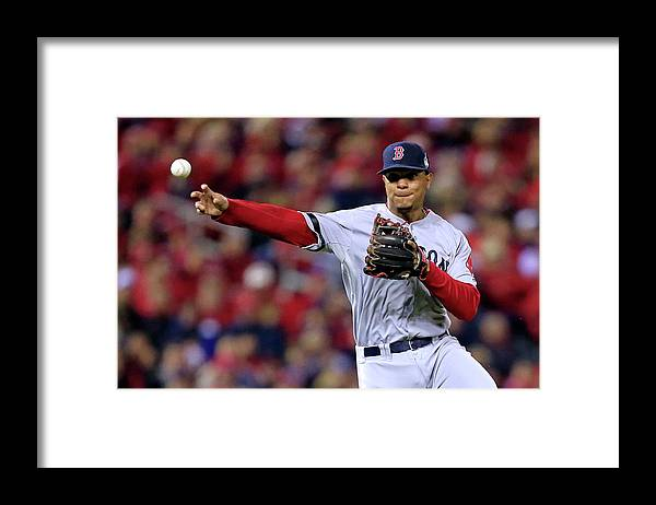 American League Baseball Framed Print featuring the photograph Yadier Molina and Xander Bogaerts by Dilip Vishwanat