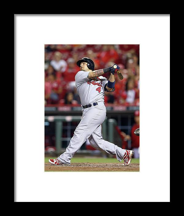 Great American Ball Park Framed Print featuring the photograph Yadier Molina by Andy Lyons
