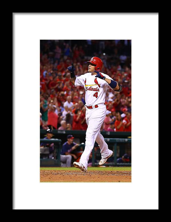 St. Louis Cardinals Framed Print featuring the photograph Yadier Molina by Dilip Vishwanat