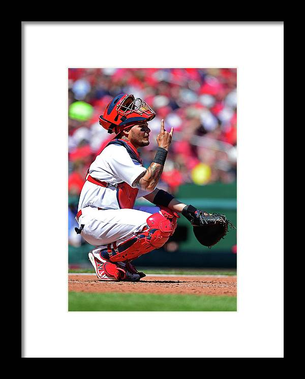 St. Louis Cardinals Framed Print featuring the photograph Yadier Molina by Jeff Curry