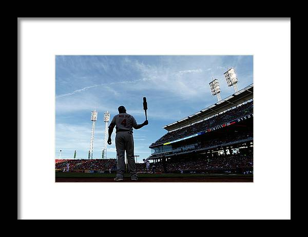 Great American Ball Park Framed Print featuring the photograph Yadier Molina by Joe Robbins