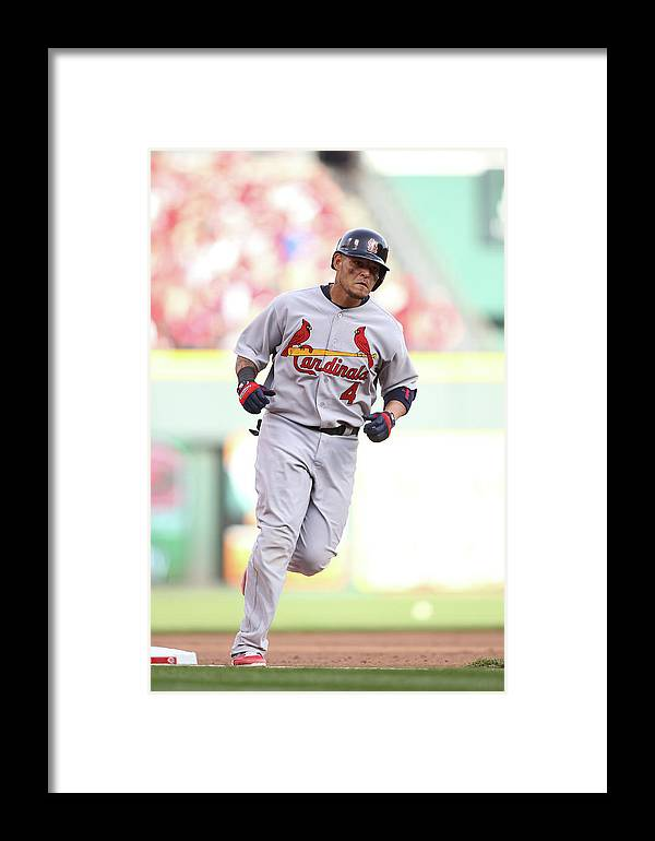 Great American Ball Park Framed Print featuring the photograph Yadier Molina by John Grieshop