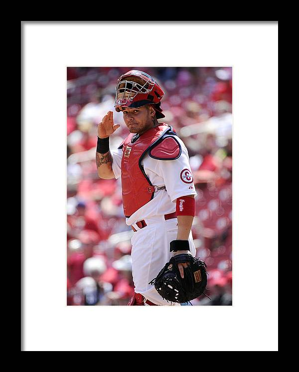 St. Louis Cardinals Framed Print featuring the photograph Yadier Molina by Ron Vesely