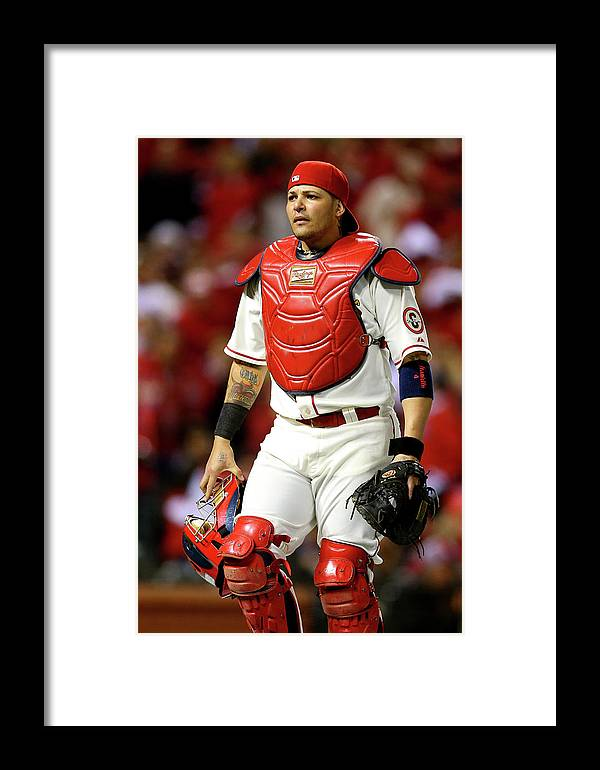 American League Baseball Framed Print featuring the photograph Yadier Molina by Ronald Martinez