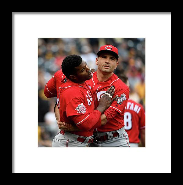 Three Quarter Length Framed Print featuring the photograph Yasiel Puig And Joey Votto by Justin Berl