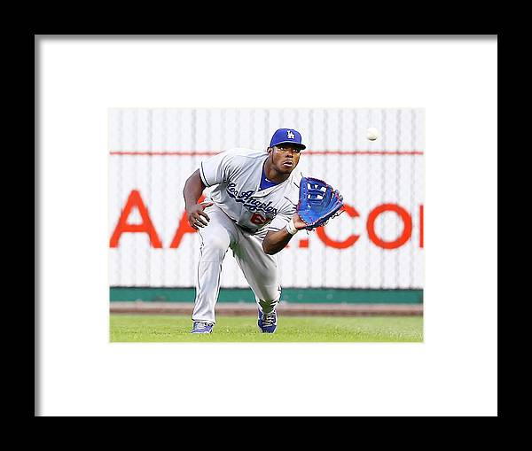 People Framed Print featuring the photograph Yasiel Puig by Jared Wickerham
