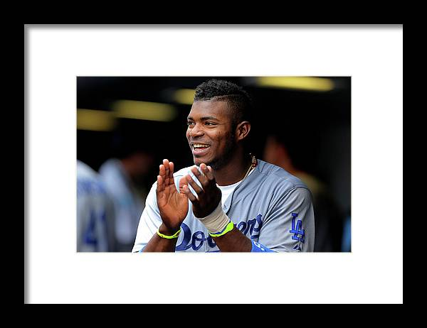 Scoring Framed Print featuring the photograph Yasiel Puig by Justin Edmonds