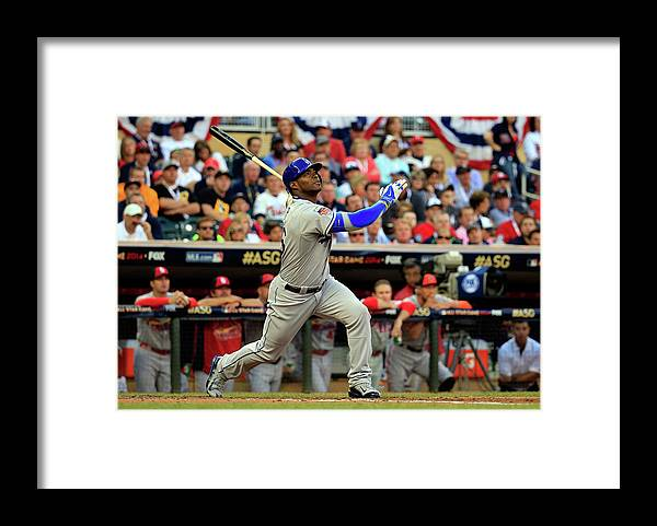 American League Baseball Framed Print featuring the photograph Yasiel Puig by Rob Carr