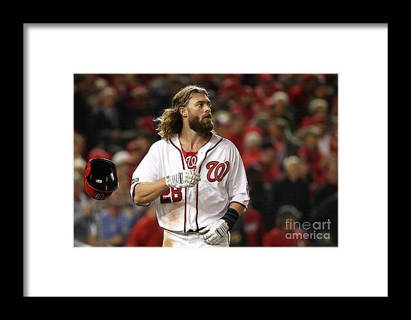 People Framed Print featuring the photograph Yasmani Grandal And Jayson Werth by Patrick Smith