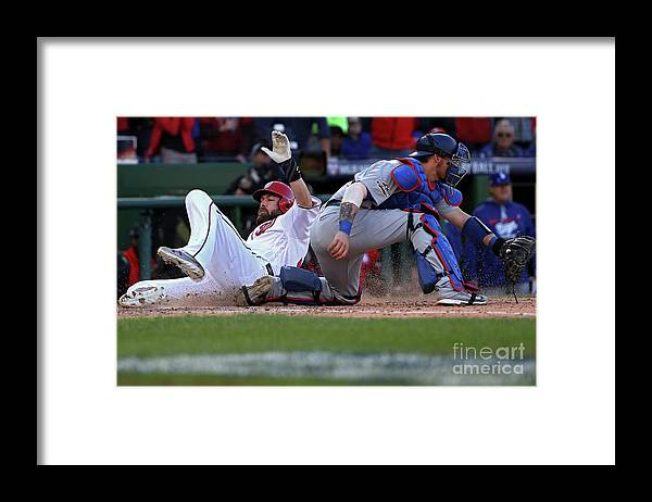 Game Two Framed Print featuring the photograph Yasmani Grandal, Daniel Murphy, and Jayson Werth by Patrick Smith