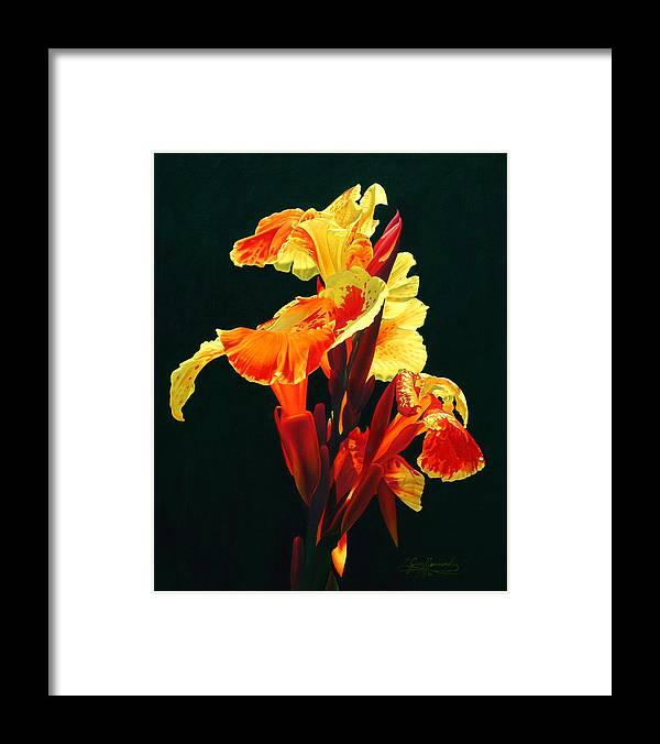 Flowers Framed Print featuring the painting Yellow Cannas by Gary Hernandez