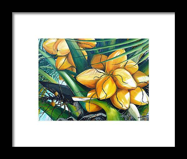 Coconut Painting Botanical Painting  Tropical Painting Caribbean Painting Original Painting Of Yellow Coconuts On The Palm Tree Framed Print featuring the painting Yellow Coconuts by Karin Dawn Kelshall- Best
