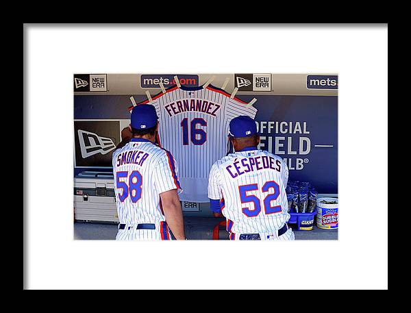 Hanging Framed Print featuring the photograph Yoenis Cespedes by Adam Hunger