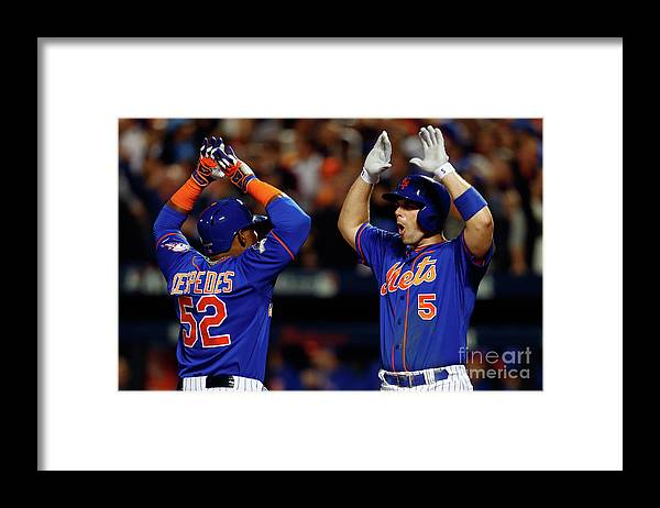 Yoenis Cespedes Framed Print featuring the photograph Yoenis Cespedes, Alex Wood, and David Wright by Mike Stobe