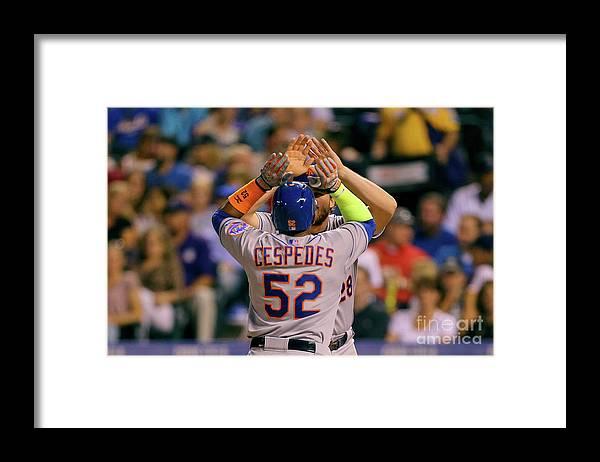 Yoenis Cespedes Framed Print featuring the photograph Yoenis Cespedes and Daniel Murphy by Justin Edmonds