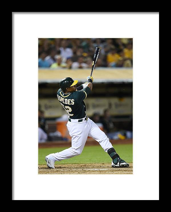 Yoenis Cespedes Framed Print featuring the photograph Yoenis Cespedes and John Jaso by Thearon W. Henderson