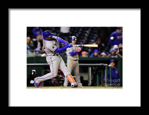 Yoenis Cespedes Framed Print featuring the photograph Yoenis Cespedes and Juan Lagares by Patrick Mcdermott