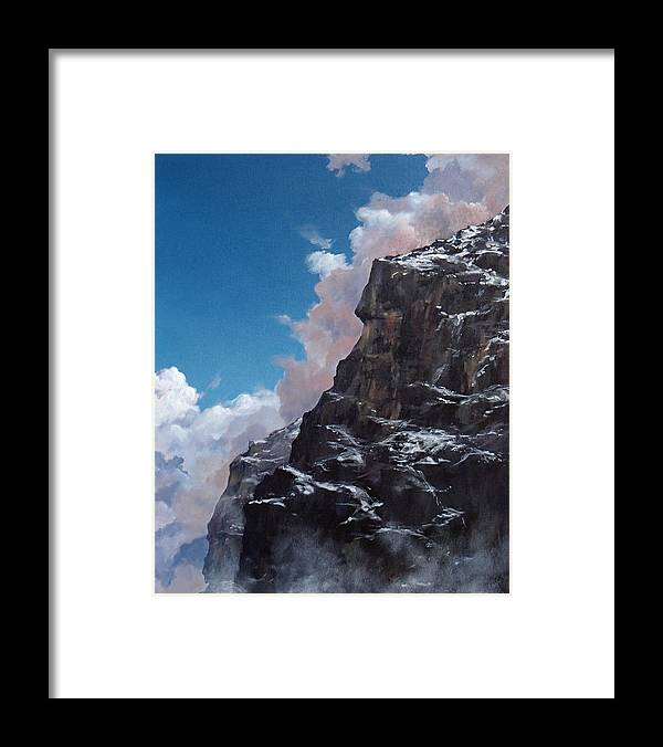Yosemite Framed Print featuring the painting Yosemite cliff face by Philip Fleischer