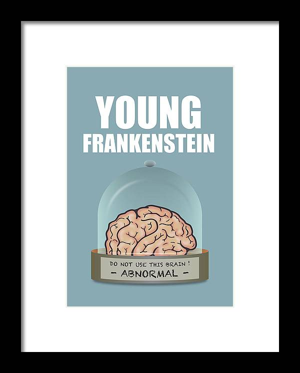 Young Frankenstein Framed Print featuring the digital art Young Frankenstein - Alternative Movie Poster by Movie Poster Boy