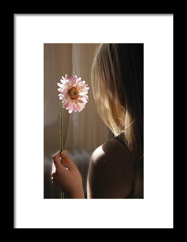 Child Framed Print featuring the photograph Young girl dreaming by Urilux