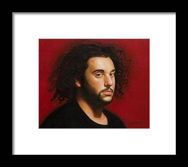 Portrait Of A Young Man Framed Print featuring the painting Young Man in Black by Gary Hernandez
