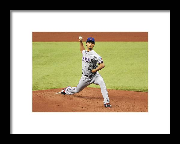 American League Baseball Framed Print featuring the photograph Yu Darvish by Al Messerschmidt
