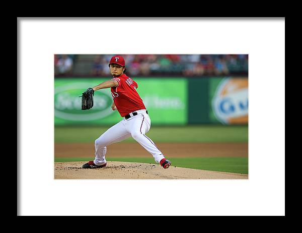 American League Baseball Framed Print featuring the photograph Yu Darvish by Cooper Neill