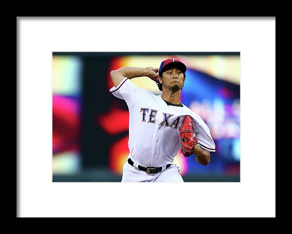American League Baseball Framed Print featuring the photograph Yu Darvish by Elsa