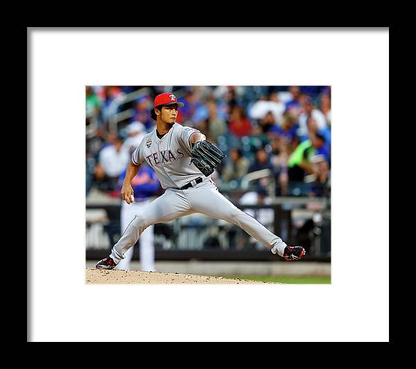 American League Baseball Framed Print featuring the photograph Yu Darvish by Rich Schultz