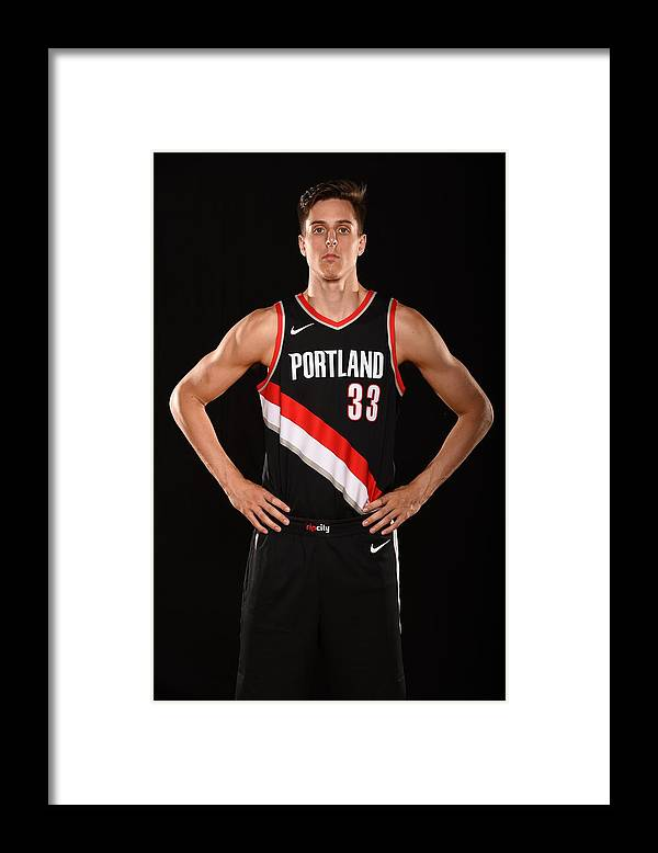 Nba Pro Basketball Framed Print featuring the photograph Zach Collins by Brian Babineau