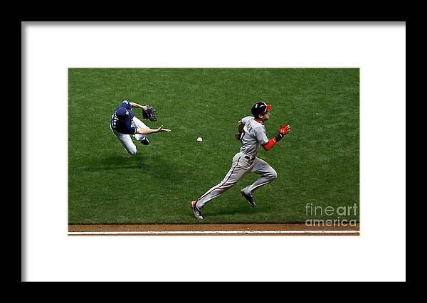 People Framed Print featuring the photograph Zach Davies and Trea Turner by Jon Durr