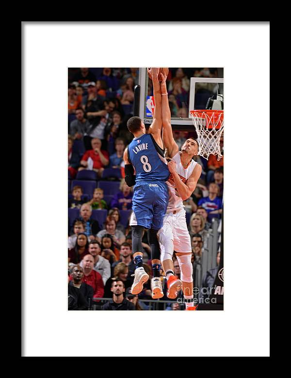 Nba Pro Basketball Framed Print featuring the photograph Zach Lavine and Alex Len by Barry Gossage