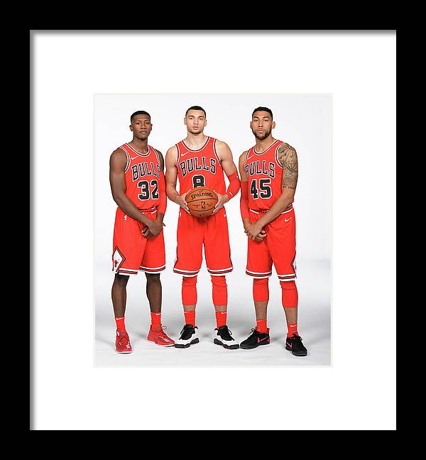 Media Day Framed Print featuring the photograph Zach Lavine, Kris Dunn, and Denzel Valentine by Randy Belice