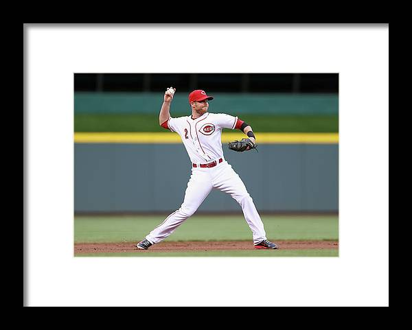 Great American Ball Park Framed Print featuring the photograph Zack Cozart by Andy Lyons
