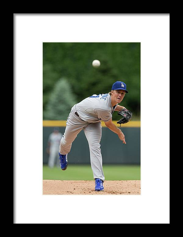 Los Angeles Dodgers Framed Print featuring the photograph Zack Greinke by Justin Edmonds