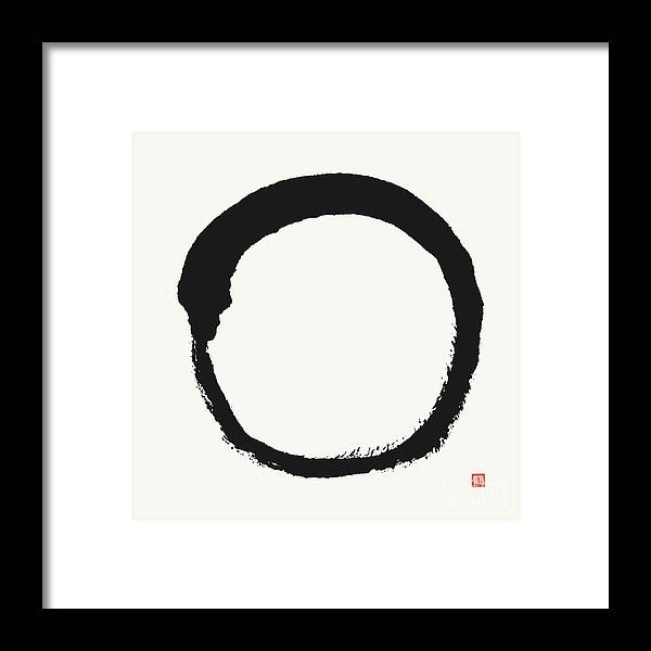 Zen Circle Framed Print featuring the painting Zen Enso Circle, Thus it Is by Nadja Van Ghelue