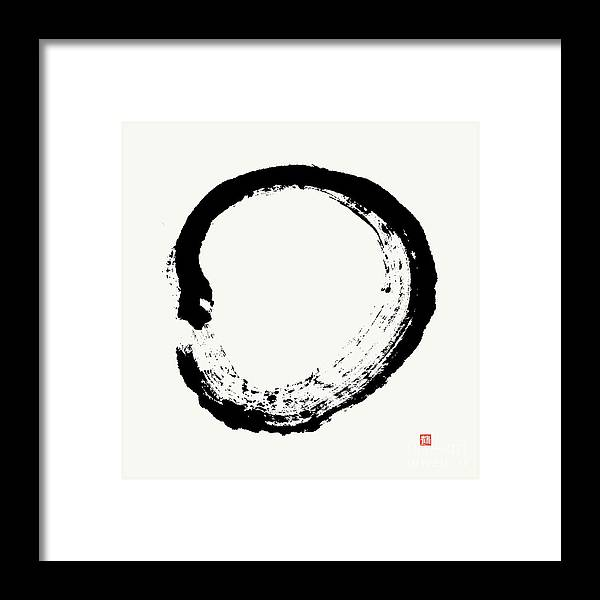 Zen Circle Framed Print featuring the painting Zen Enso, Unimpeded Creation by Nadja Van Ghelue