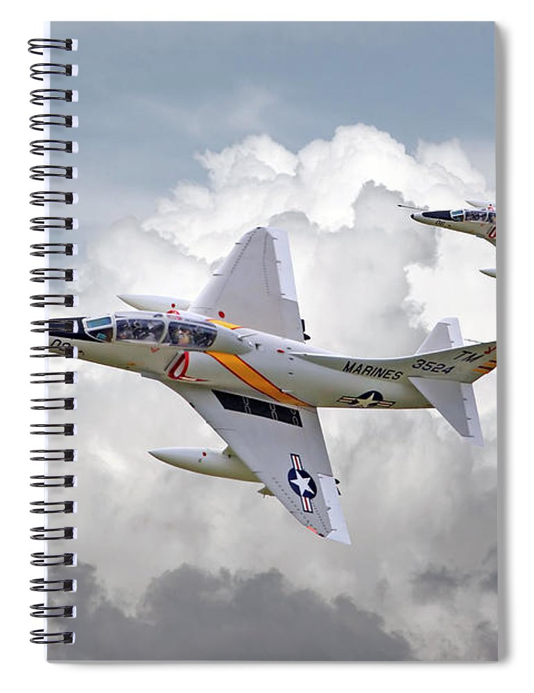 Aircraft Spiral Notebook featuring the photograph A4 - Skyhawks by Pat Speirs