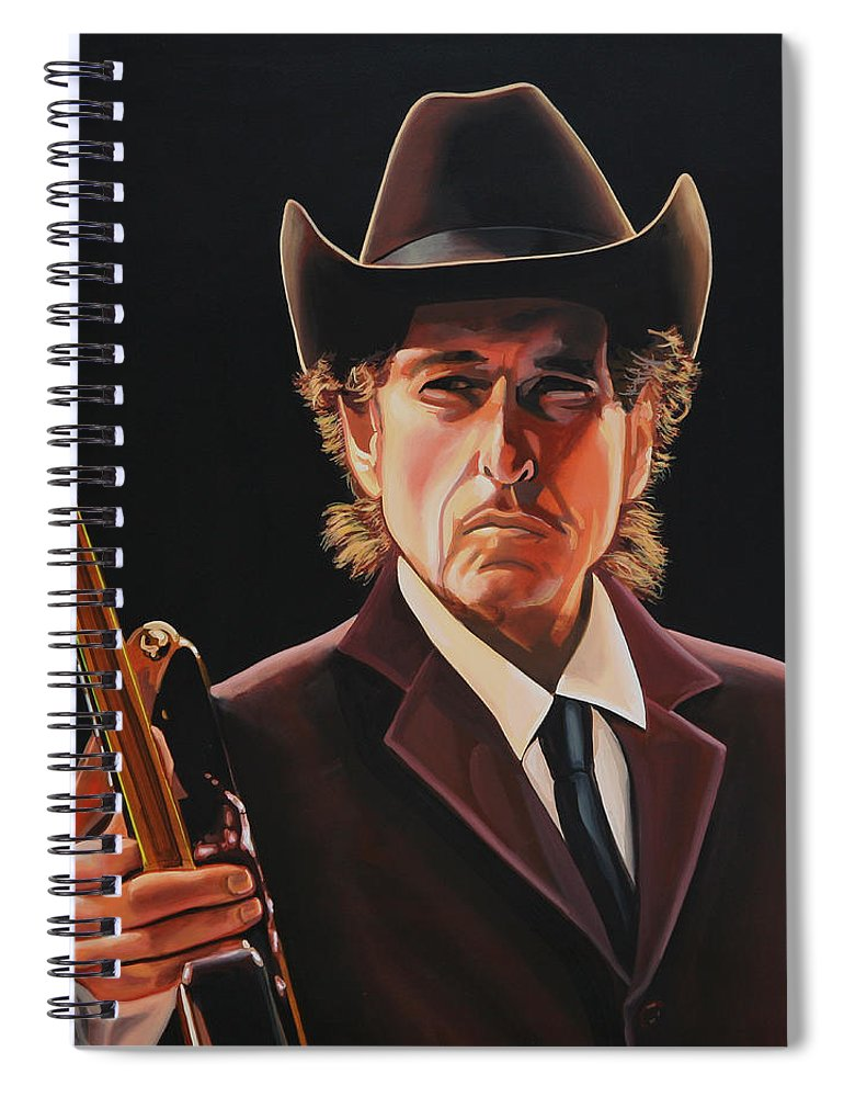 Bob Dylan Spiral Notebook featuring the painting Bob Dylan 2 by Paul Meijering
