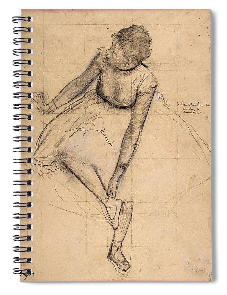 Edgar Degas Spiral Notebook featuring the drawing Dancer Adjusting Her Slipper by Edgar Degas