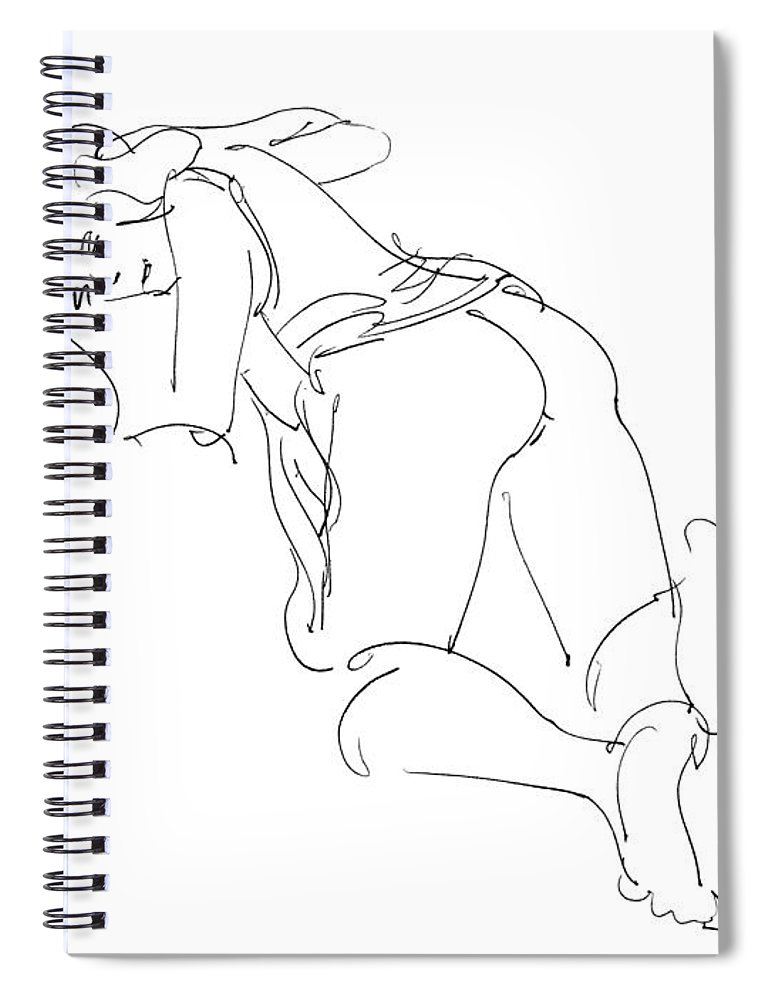 Erotic Renderings Spiral Notebook featuring the drawing Erotic-line-drawings-23 by Gordon Punt