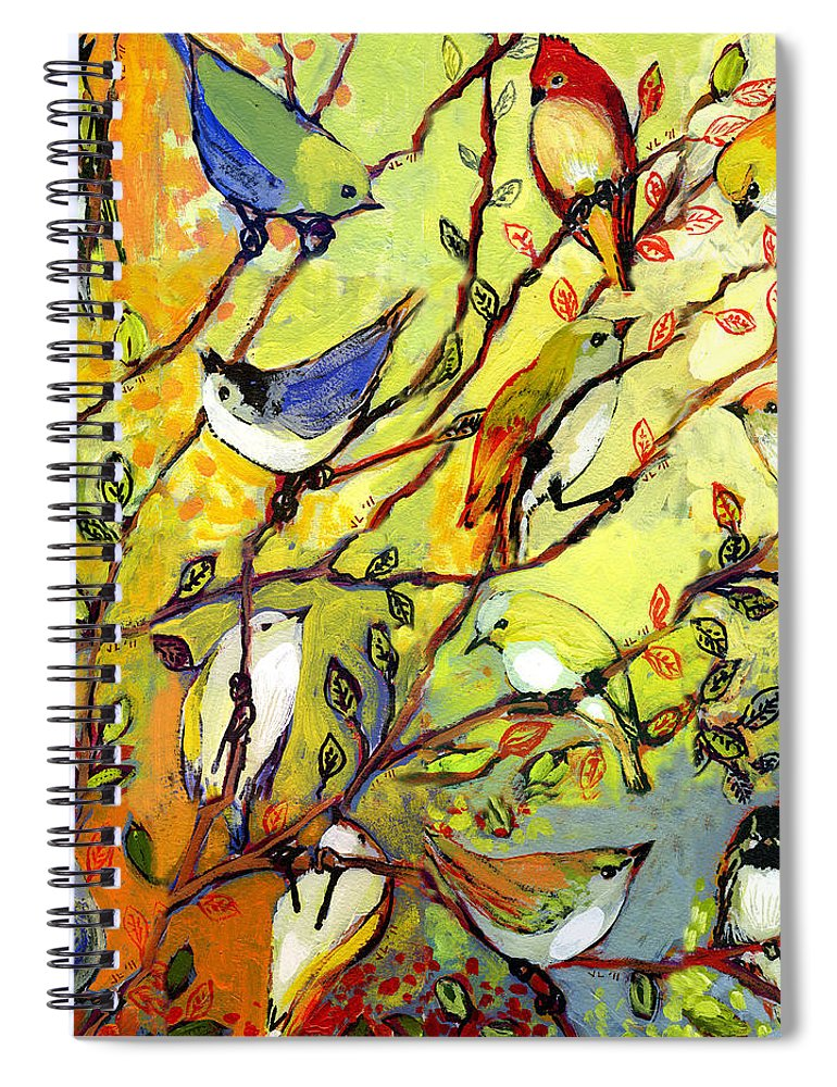 Bird Spiral Notebook featuring the painting 16 Birds by Jennifer Lommers