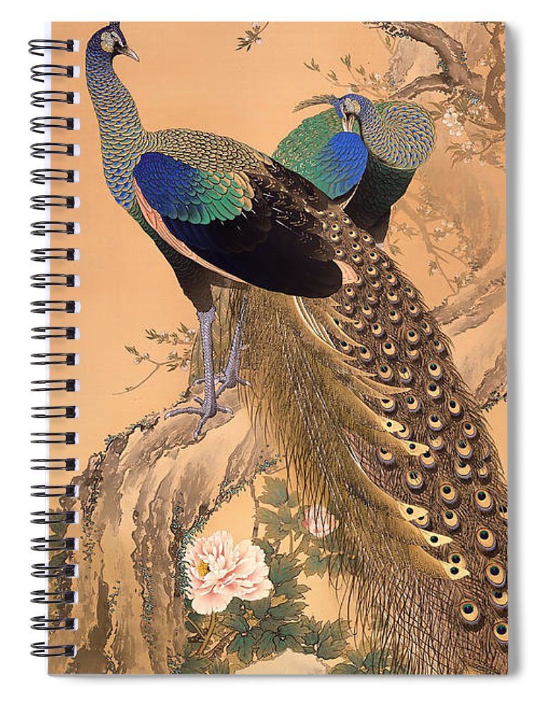 Painting Spiral Notebook featuring the painting A Pair Of Peacocks In Spring by Mountain Dreams