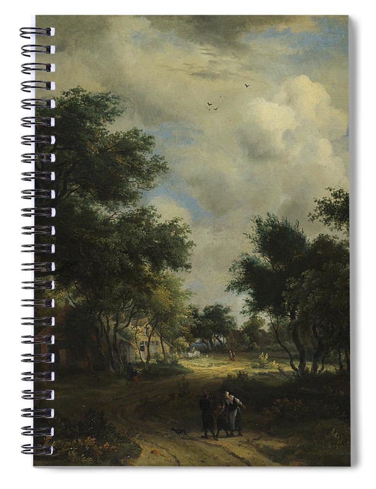 Meindert Hobbema Spiral Notebook featuring the painting A Road Winding Past Cottages by Meindert Hobbema