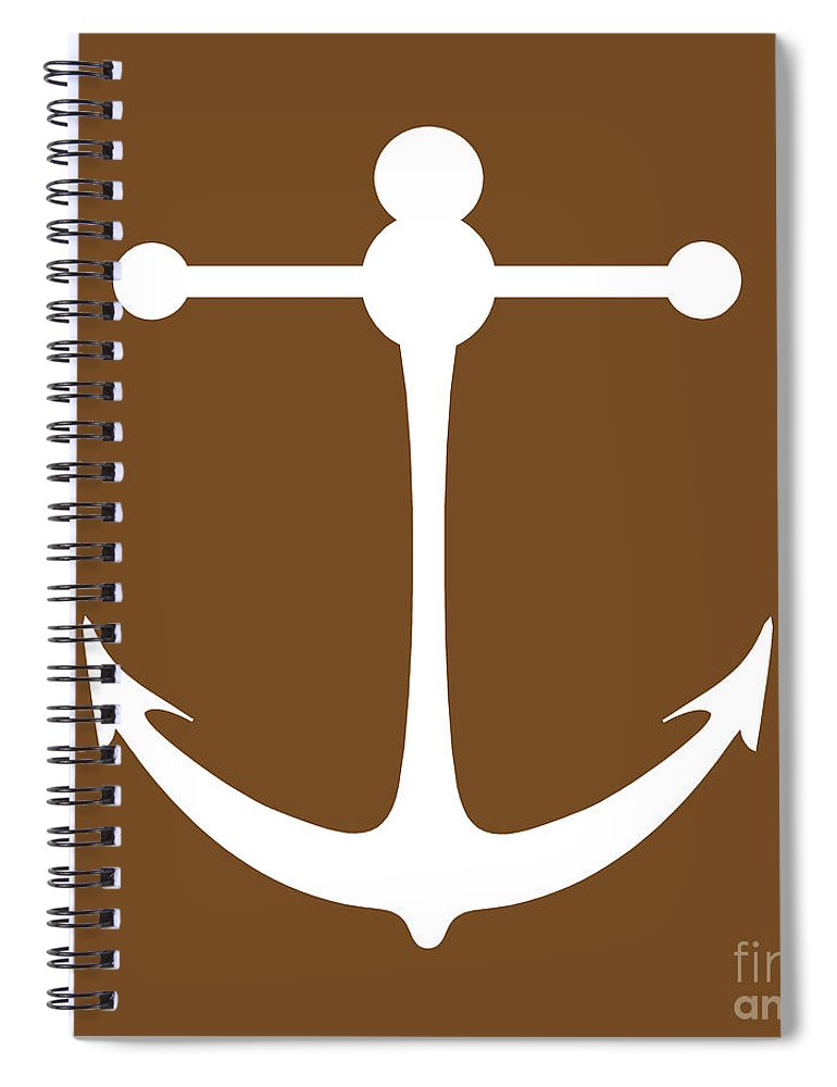 Graphic Art Spiral Notebook featuring the digital art Anchor In Brown And White by Jackie Farnsworth